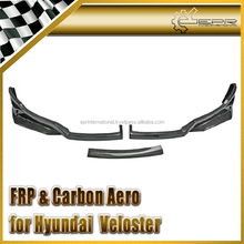 For Hyundai Veloster F35 Style Front Bumper Bottom Splitter Valance Chin Lip 3Pcs (Non Turbo Only) Carbon Fiber