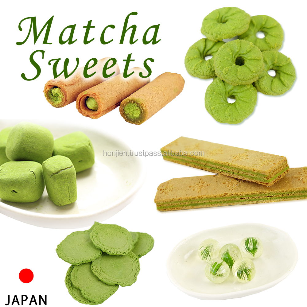 Additive-free bite-sized matcha sweets made by biscuit manufacturers with no artificial coloring