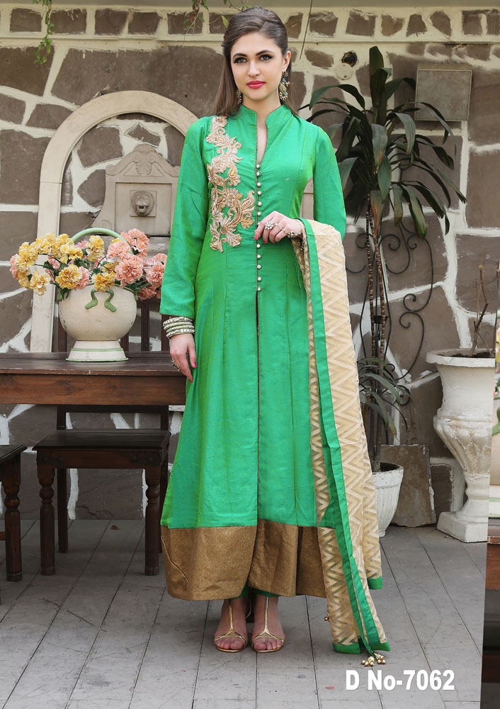 Rama Green color patch buta work dupion Dress with patola dupata and fancy suit paint
