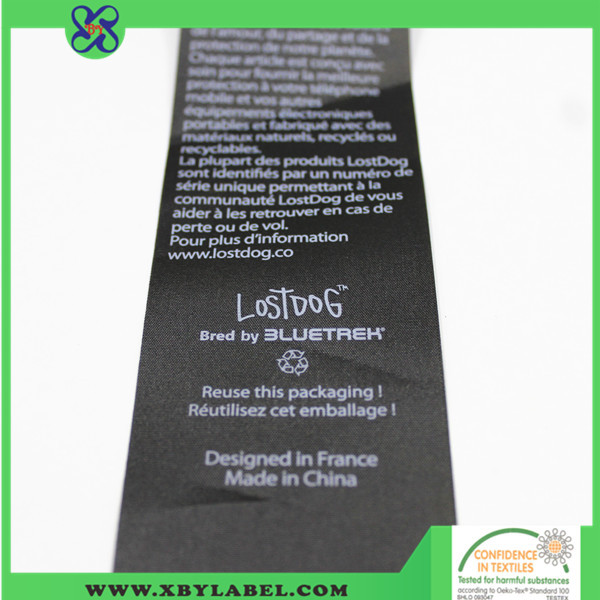 Private printed satin fabric wash care cotton label