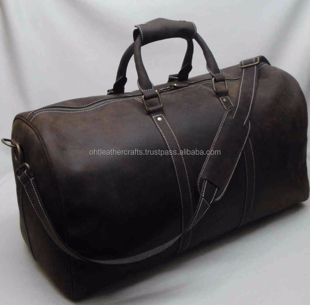 Cow Crazy Horse Vintage Weekender Duffel - Holdall - Gym Bag