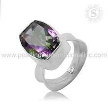 Rainbow Color Full Mystic Gemstone Ring 925 Sterling Silver Jewelry Indian Wholesale Silver Jewellery Ring