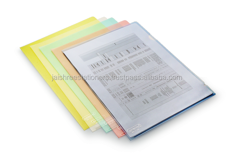 L shape folder clear / color document file holder, Office Stationery