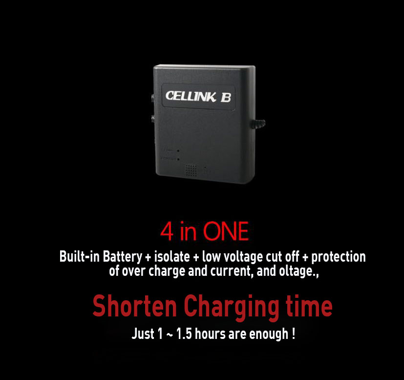 Protect your car ! An auxiliary Battery for Car BlackBox, CELLINK B6 (6,000mA), Quick charging Time.