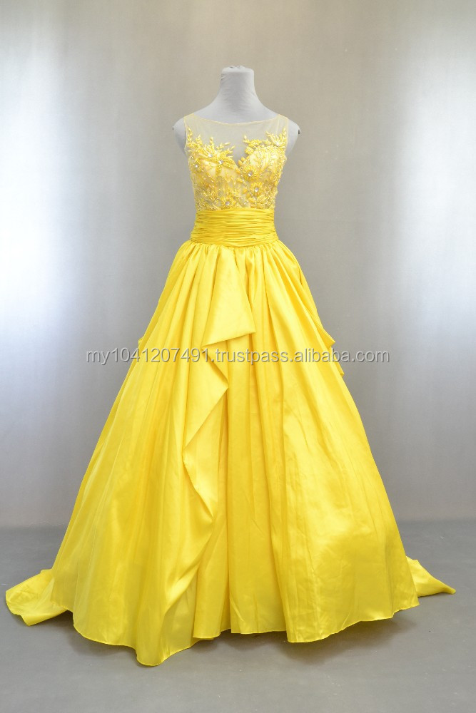 Elegance yellow evening gown by Lis Bridal