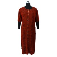 Indian Long Dress Rayon Maxi Dress Embroidered Full Sleeve Gown Red Size XXXL