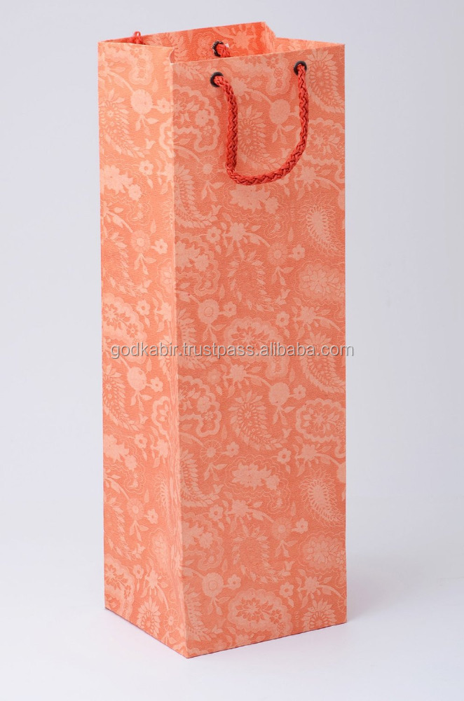 2016 Modern design WINE BOTTLE PAPER CARRY BAGS - PEARL ORANGE AMBI PRINT/Best Multicolour printed design base cheap rate bags