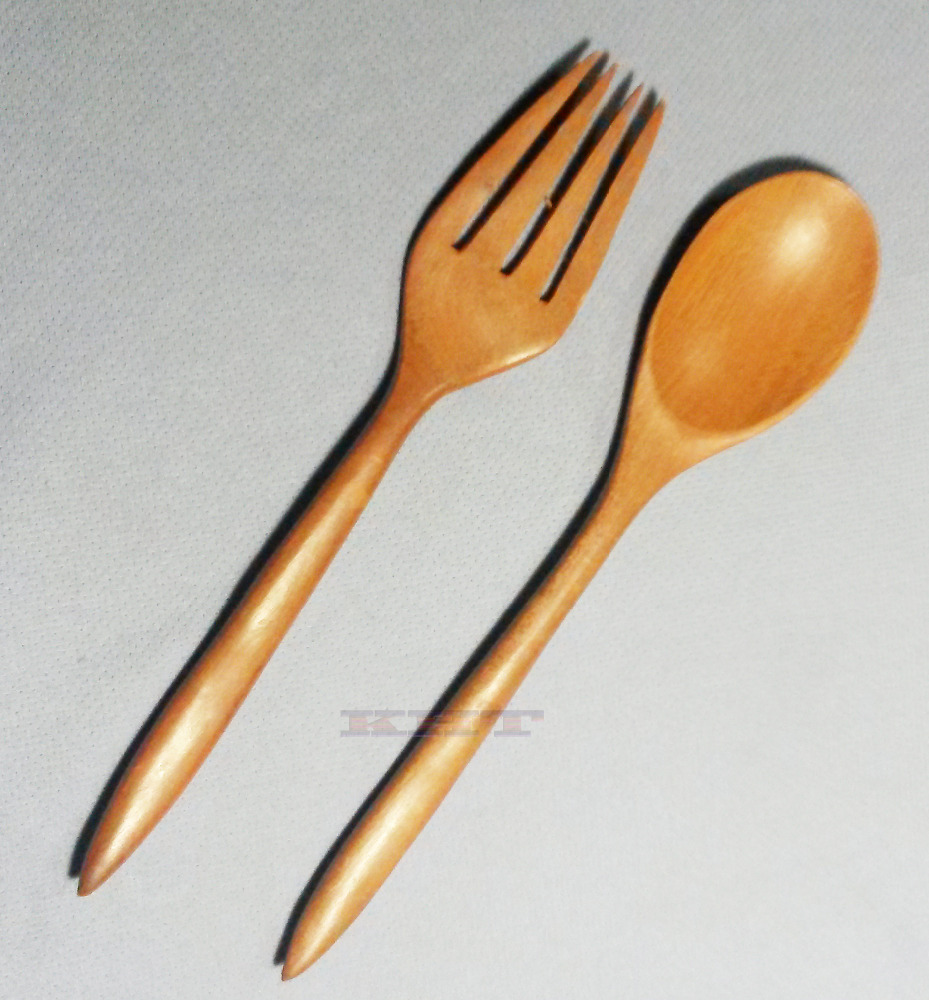 Wooden Cutlery Spoons & Forks Thai exotic subtropical monkey puzzle tree hard wood