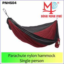 Wholesale Lightweight Portable Nylon Parachute double Hammock with Hammock tree Straps (Brown + Gray)