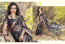 Faux Chiffon Print Work Casual Saree/fancy saree blouse designs./wholesale saree