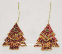 Tree Shape Zari Embroidery Christmas Hanging Ornament