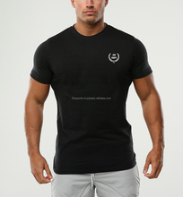 Wholesale Men Clothes Stretch Cotton Skinny T Shirt Slim Fit Blank Gym T Shirt
