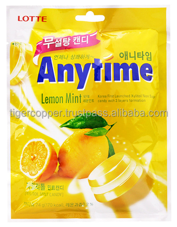 LOTTE ANYTIME LEMON MINT XYLITOL MINT CANDY 74G
