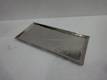 CAST ALUMINUM INDIAN HANDMADE METAL SERVING TRAY HAMMERED
