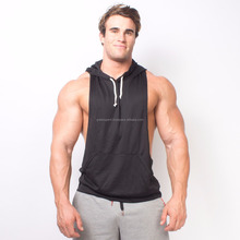 Gym singlet hoodie/ New Mens Gym Cotton Tank Top / Workout Shirt-Stringer T Back
