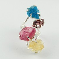 Ruby_Citrine_Garnet_Apatite 925 Sterling Silver Ring, Jewelry For All Over World, Rough Stone Silver Jewelry