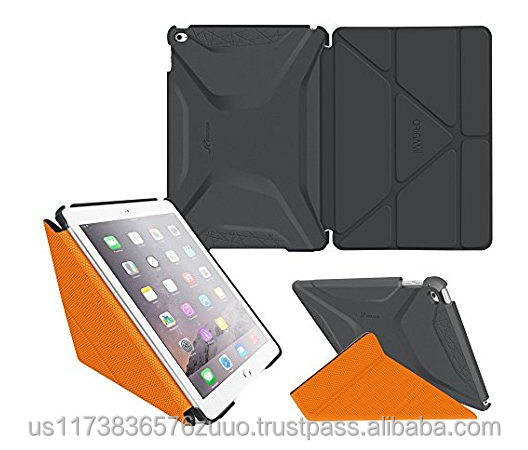 Ultra Slim Lightweight Smart Cover PC Shell PU Leather Folio Case Magnetic Auto Sleep Wake for iPad Air 2 roocase (gray/orange)