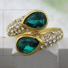 New Crystalize ring Stainless Steel Finger Ring with crystal czech gold color 1102337