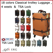TSA lock carry bag stock suitcase classical suitcase style with wheels from japan black leather vintage luggage