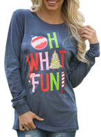 Women Ladies Girl Long Sleeve Oh What Fun Print Casual Blouse T-shirt Tops Design Simple Top 100% Cotton OEM Customize