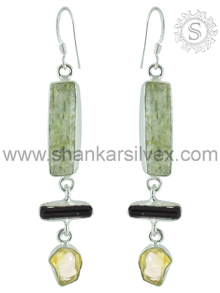 Wholesale Sterling Silver Jewelry Citrine, Aquamarine,black tourmaline Earring ERCB15-1034-6