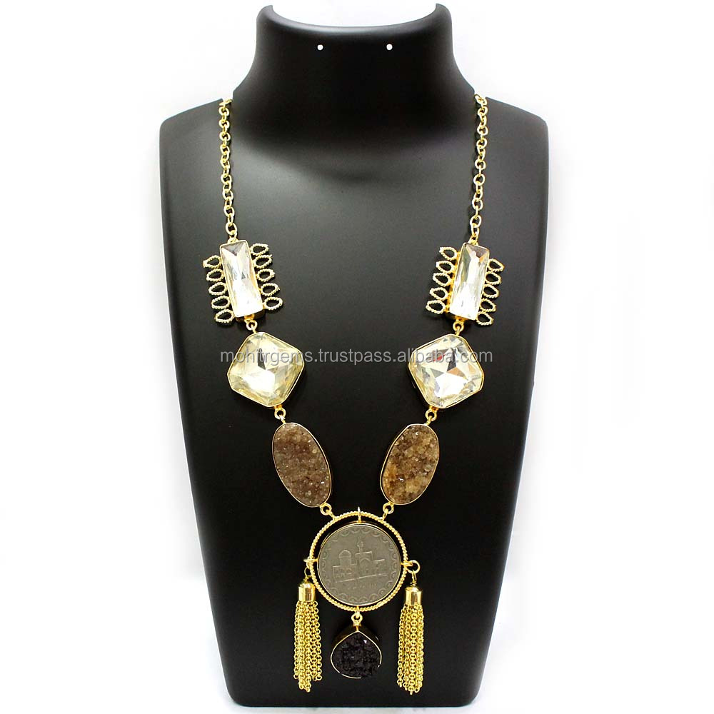 22 Carat Gold Plated Agate With Chatons,Coins And Tassel Handmade Necklace