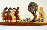 Vintage Home Decor Home Accent Wooden Indian Handicraft Wooden Tribal Dancing Scene of Rubber Wood-Collectible best home decor