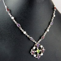 Passion !! Peridot_Garnet_Pearl_Amethyst 925 Sterling Silver Necklace, 925 Silver Necklace For Beautiful Women, Silver Jewelry