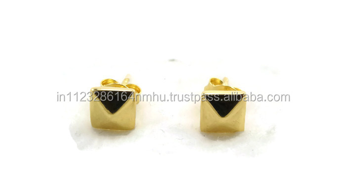 925 sterling silver 2 micron gold plated simple pyramid stud earrings