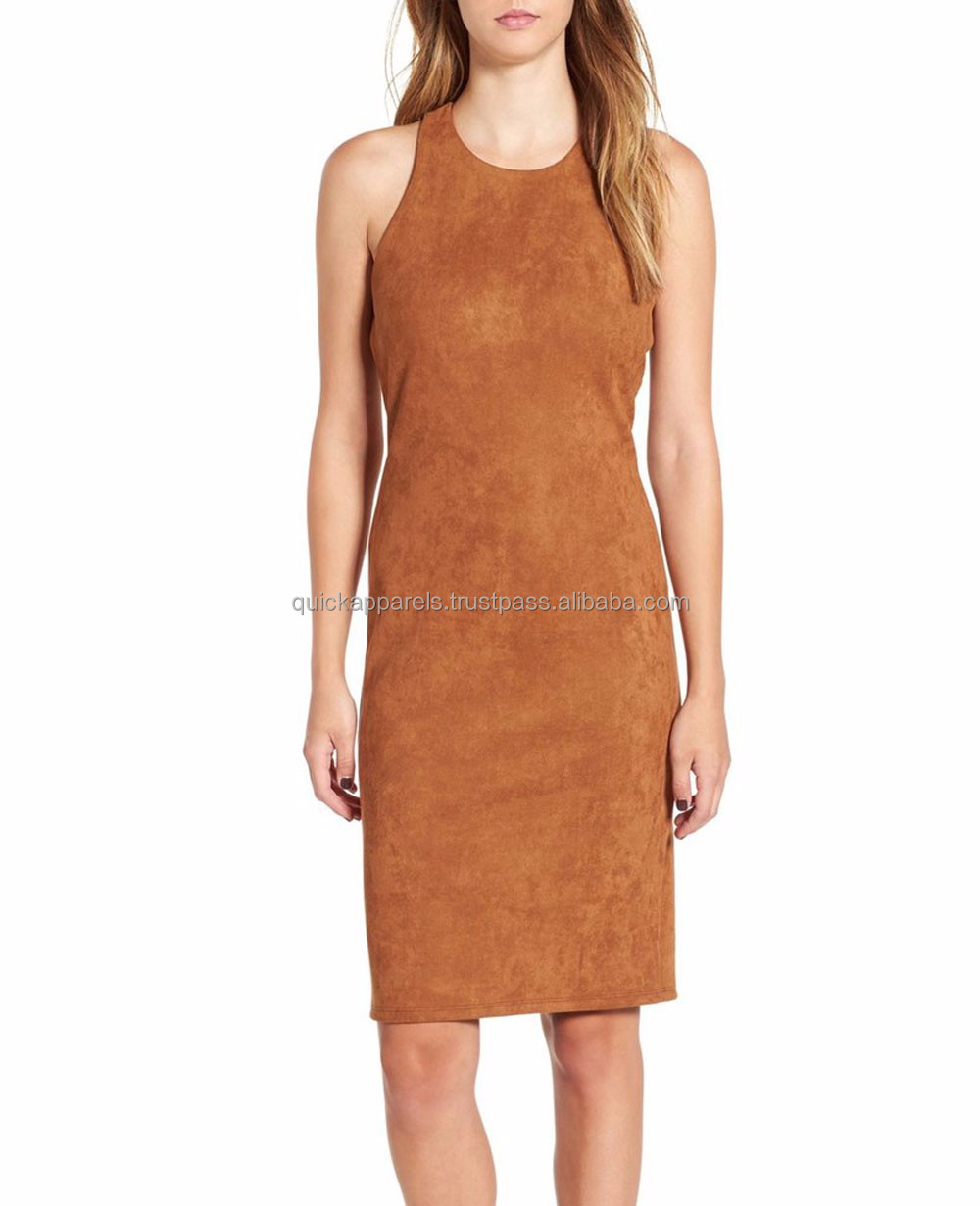 China factory clothing wholesale latest design high end sleeveless women casual leather dress