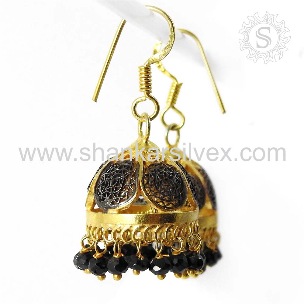 Majestic Gold Plated Black Onyx Earring Indian Jhumka Silver Jewelry 925 Sterling Silver Jewelry Supplier