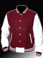 Cosh International: Classic Style Maroon Wool Body And Leather White Sleeves Baseball Unisex Varsity Jackets Supplier SN-70006
