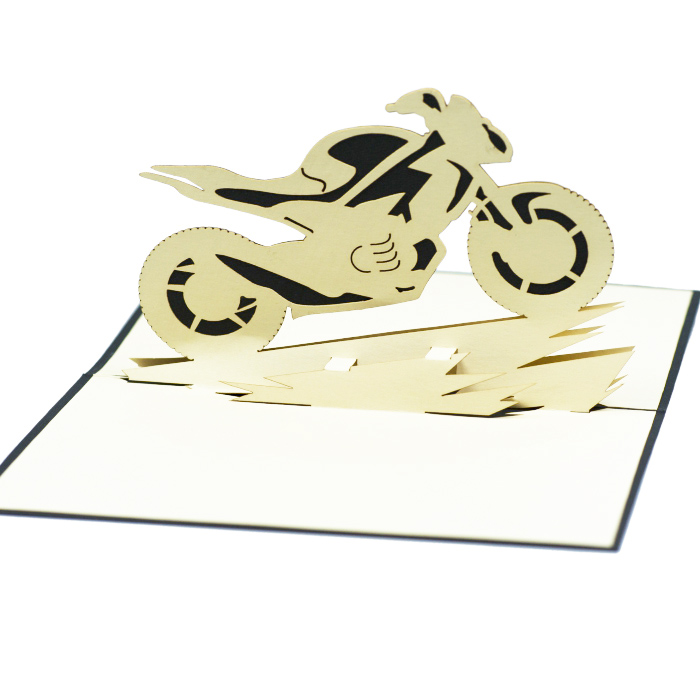 Motor bike 3D handmade paper greeting cards