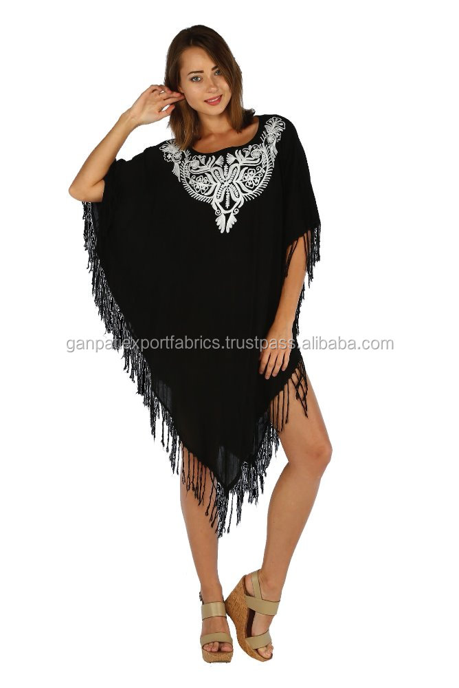 All New Fashionable Sexy Women's Embroidered Design Short Kaftan / Poncho Beach Cover Ups
