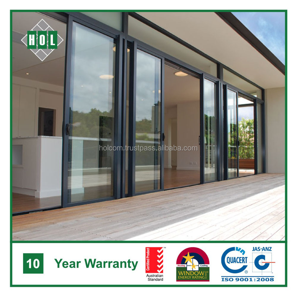 Entrance aluminum sliding door, lowE glass, dark color