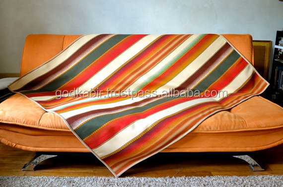 Best latest design pattern recently made high Striped Wool Throw Blanket in Multicolor Red & Green Native American blanket SALE.