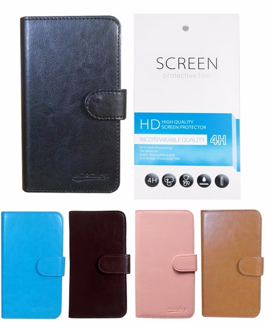PU Leather Book Cover Flip Case for HTC Desire 620G