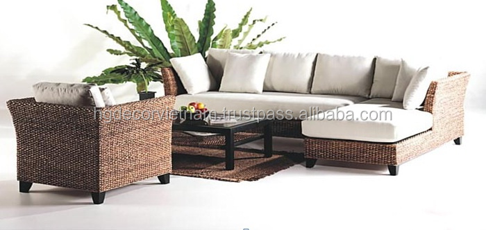 Elegant water hyacinth sofa set with cushion, acacia frame, indoor product, made in Viet Nam