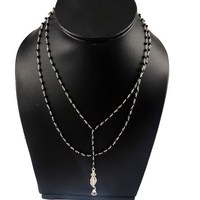 Darker Night !! Black Onyx_Crystal 925 Sterling Silver Necklace, Free Shipping For U.K. And U.S.A. Customers