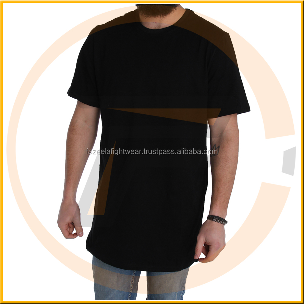 Factory blank extra long curved hem muscle fit t shirt with turtleneck