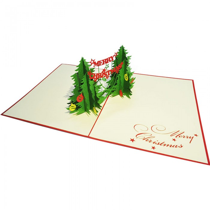 Amazing 3D Pop up Handmade Christmas card/Seasonal greeting Cards For Merry Christmas 2016/MC004-Two Christmas Trees