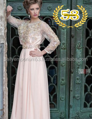 New Arrivals 2016-17 Pale Pink Glamorous Caftan Look Elegance Hand Embrodery Stone, Crystal Beads,Pearls on It For European Girl