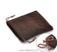 "Coffee Velveteen Pouch Jewelry Bags With Drawstring 12x10cm(4-3/4""x3-7/8""), sold per packet of 10"