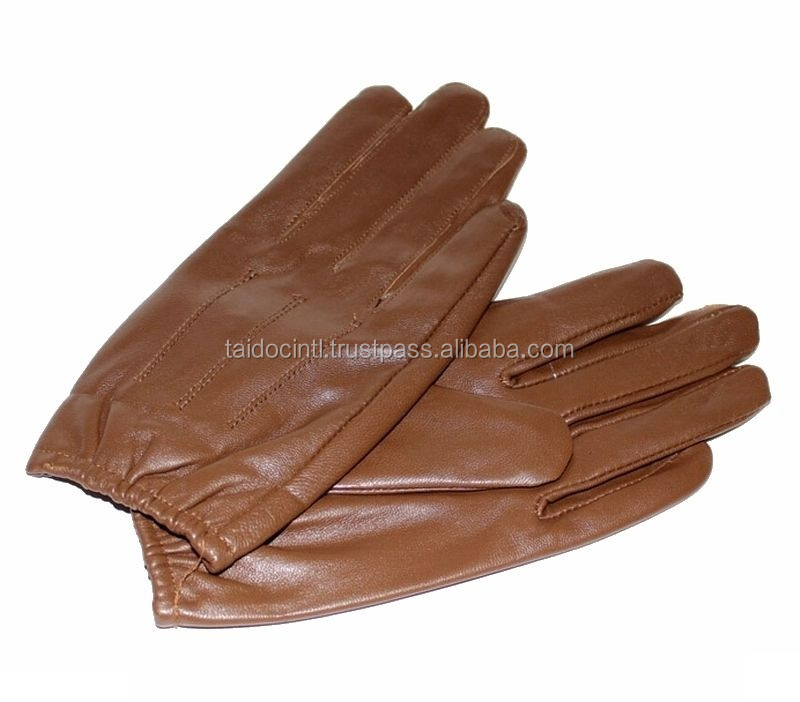 Men's 100% Genuine Sheepskin Leather Police Tactical Gloves/Brown Driving Gloves/ Best quality by taidoc