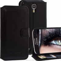 Geniune Leather Bookstyle case for Samsung Galaxy S4 S 4 SIIII i9500 i9505 Black Cow Leather