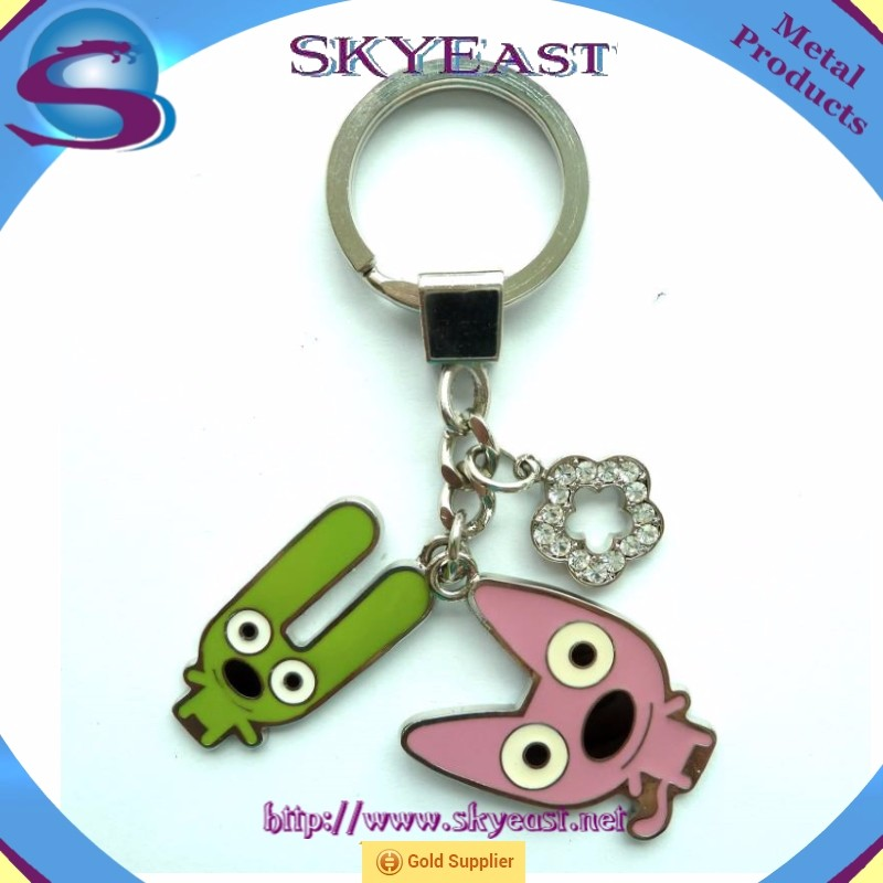 High Shiny Rhinestones Epoxy Decal with Metal Keychain and Ring