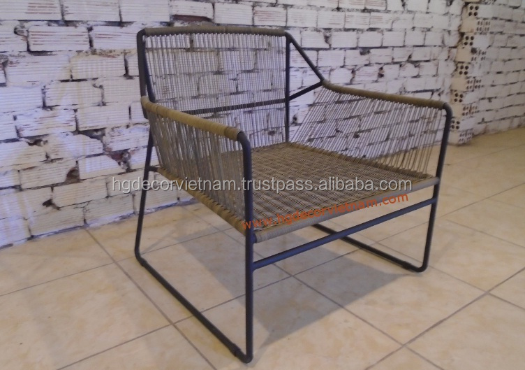 Specific rattan chair with metal frame, highest resin wicker chair for projects, hotels , resort