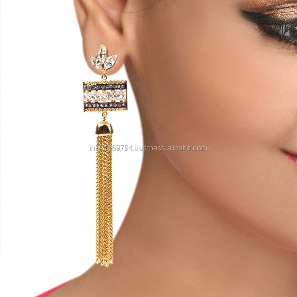Long Golden Chain Tassel Big CZ Stone Imitation Cocktail Model Fashion Hanging Dangler Earrings