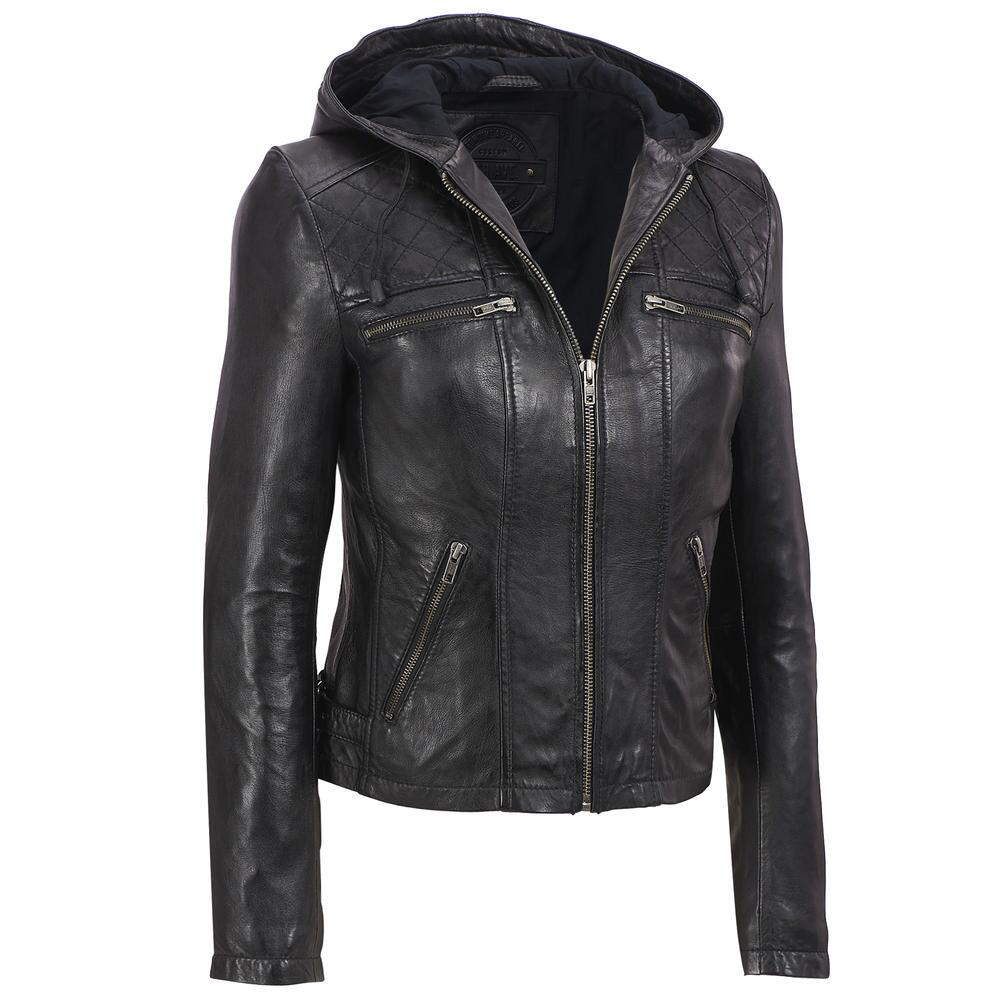 WOMENS LADIES GENUINE LEATHER BIKER JACKET