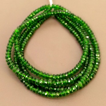 Chrome Diopside Rondelle Shape Bead Strands